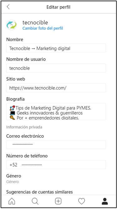 Ejemplo de editar perfil de Instagram para empresas